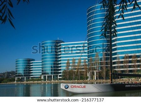 REDWOOD CITY, CA, USA - SEPT 24, 2008: The Oracle Headquarters located in Redwood City, CA, USA on Sept 24, 2008. Oracle is a multinational hardware and software technology corporation  - stock photo
