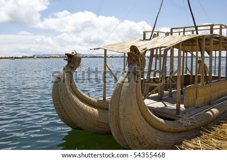 Reed boat in Lake Titicaca - stock photo