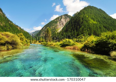Reed Lake at Jiuzhaigou Valley Scenic and Historic Interest Area, Sichuan, China. - stock photo