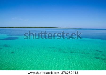 Reefs of the archipelago Jardines del Rey, south of the archipelago of the Bahamas. - stock photo