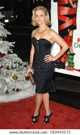 Reese Witherspoon, wearing a Nina Ricci dress, at FOUR CHRISTMASES Premiere, Grauman's Chinese Theatre, Los Angeles, CA, November 20, 2008  - stock photo