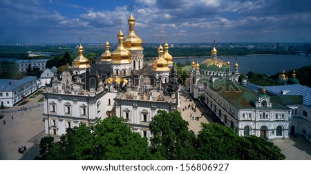 Refectory Church and the Cathedral of the Assumption. Saint Dormition Kiev-Pechersk Lavra- the ancient monastery of Russia, the main center Orthodoxy,  object of world cultural heritage under UNESCO  - stock photo