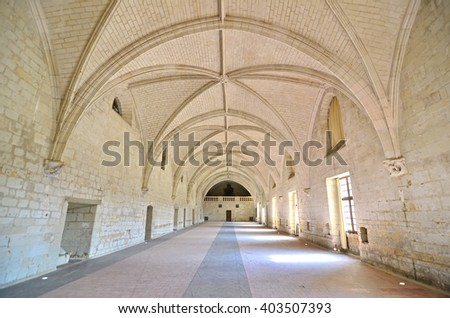 Refectory room in a renaissance abbey with vaulted stone ceiling - stock photo