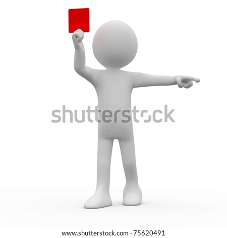 Referee showing red card and pointing with his index finger - stock photo