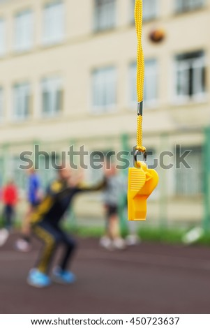 Referee whistle sound is ready to start the match. - stock photo
