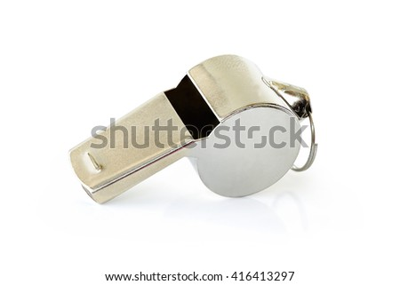 Referee Whistles made from silver standard isolated on white background. This has clipping path.                       - stock photo