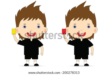 Referee with a yellow and a red card.  - stock photo