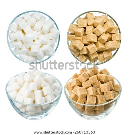 Refined sugar in a glass bowl isolated on a white background. Set of 4: brown and white, top and side view. - stock photo