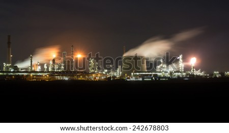 refinery at night - stock photo
