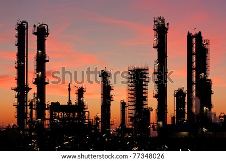 Refinery at sunset near Heide in Schleswig-Holstein, Germany. - stock photo