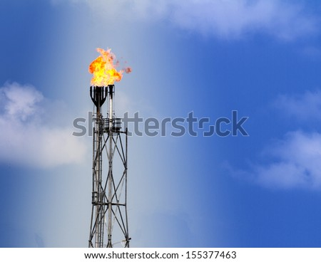 Refinery fire gas torch - stock photo