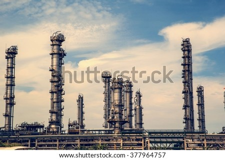Refinery Industry tank production petroleum and pipeline - stock photo