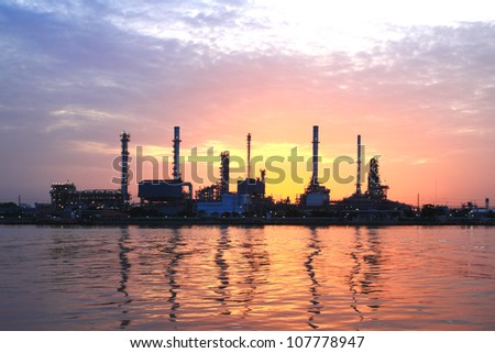refinery plant area at morning - stock photo