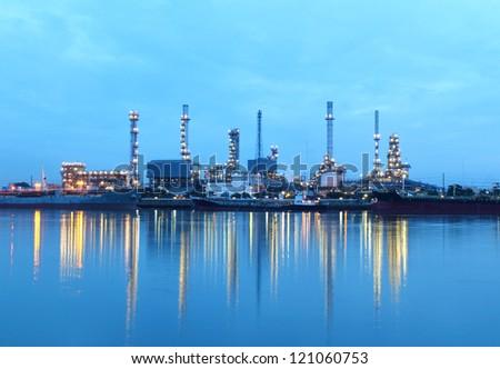 Refinery plant area at twilight, Thailand. - stock photo