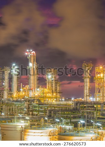 Refinery plant at at twilight time - stock photo