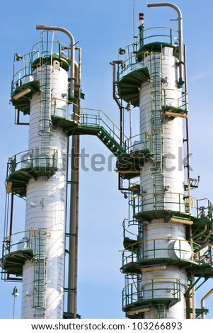 refinery plant in blue sky - stock photo