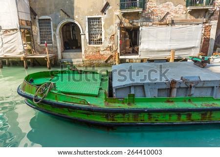 Refit buildings on venice Canal - stock photo