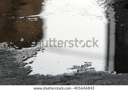 reflect water on street - stock photo