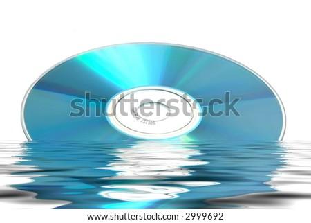 Reflected data hardware CD DVD on white background - stock photo