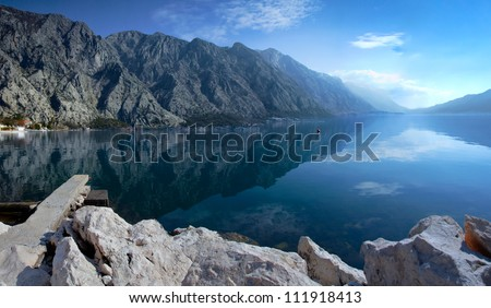 Reflected in the Bay of Kotor - stock photo