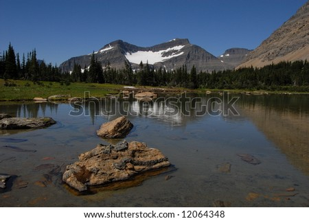 Reflection in mountain lake - stock photo