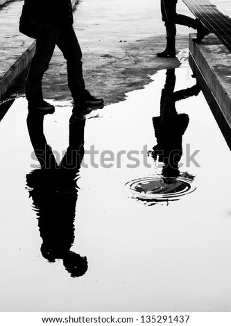 reflection in water - stock photo