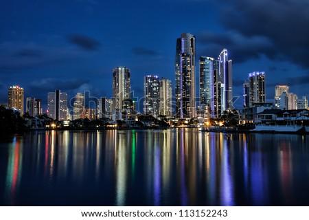Reflection of apartments at sunset, Gold Coast Australia - stock photo