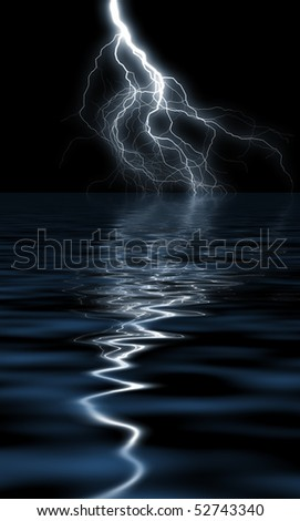 Reflection of lightning in the water - stock photo