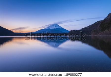 Reflection of Mt Fuji from lake Shoji - stock photo
