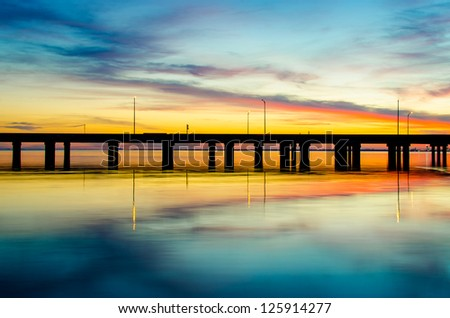 Reflection of Sunset - stock photo