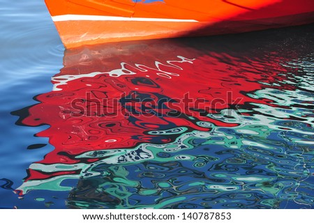 Reflection of the boat. - stock photo