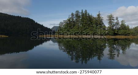 Reflection of trees on water, Skeena-Queen Charlotte Regional District, Haida Gwaii, Graham Island, British Columbia, Canada - stock photo