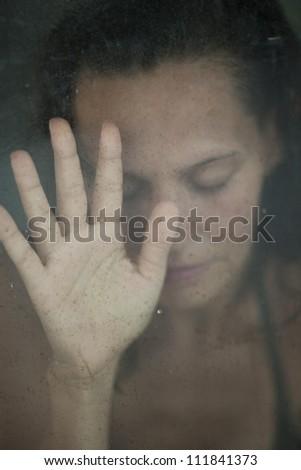 Reflection of women on film - stock photo