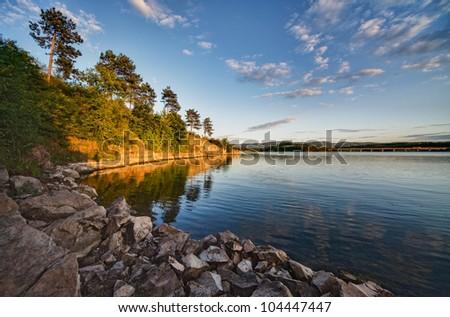 Reflection to Lake - stock photo
