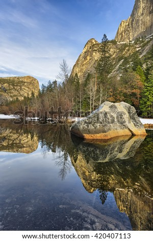 Reflections in Mirror Lake, Yosemite National Park, California - stock photo