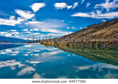 Reflections in Mirror Lakes, New Zealand - stock photo