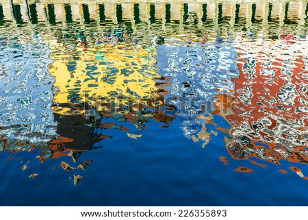 Reflections. Nyhavn, Copenhagen, Denmark - stock photo