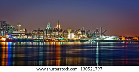 Reflections of a great city - Liverpool - stock photo