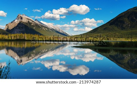 Reflections over vermillion lakes in Banff - stock photo