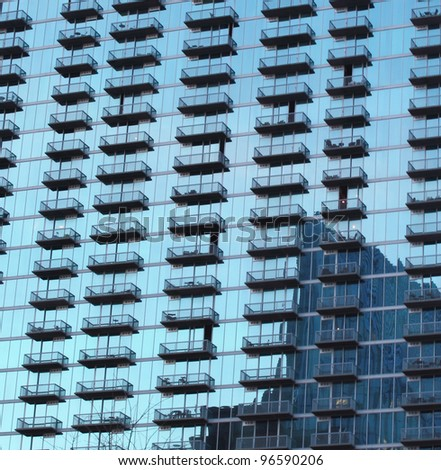 Reflective glass building in Buckhead District, Atlanta Georgia. - stock photo