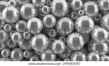 reflective metal balls background - stock photo