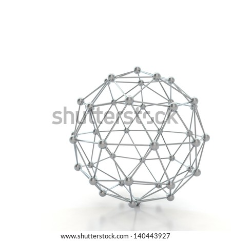 Reflective molecular structure - stock photo