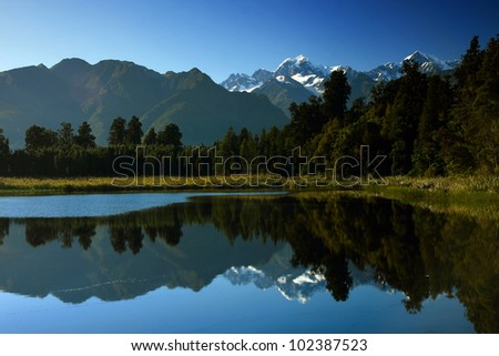 Reflective mountain, New Zealand - stock photo