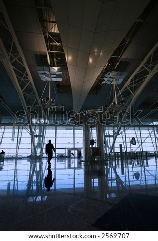 reflex at the airport building - stock photo