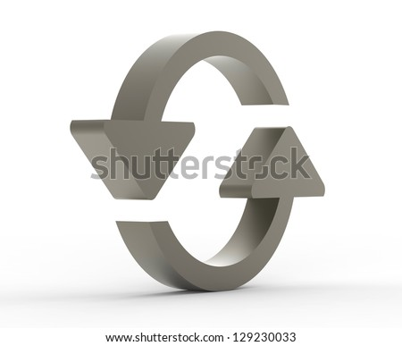 Refresh symbol metal 3D - stock photo