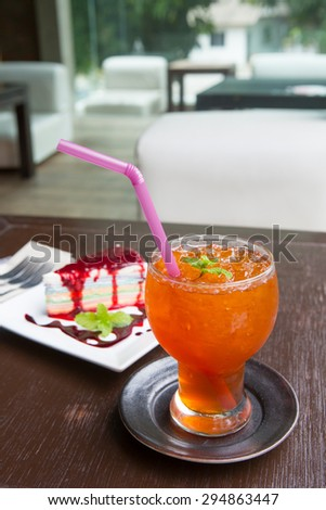 Refreshing cocktail with  Rainbow cheese coke and mint  - stock photo