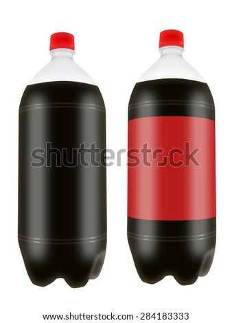 Refreshing cola drink in two liter plastic bottles isolated on white background. Highly detailed illustration. - stock photo