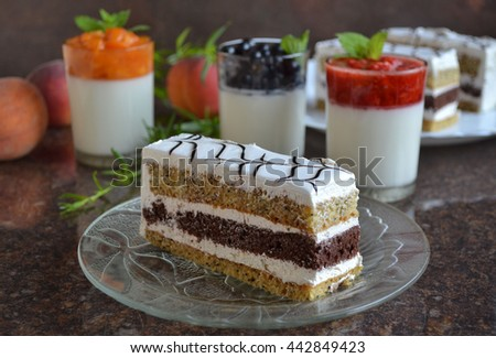 Refreshing cold  white yogurt  with aromatic summer fruits and berries - fresh apricot puree,  black currants,strawberry,peach, melissa leaves and layered cake. Delicious  dessert. Tasty breakfast. - stock photo