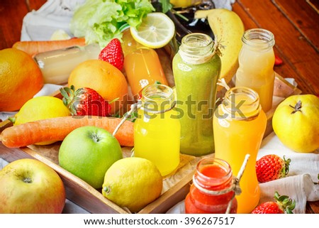 Refreshing drinks - healthy drinks (juice and smoothie) - stock photo