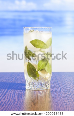 Refreshing iced tea with mint leaves - stock photo